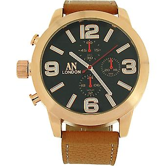 AN London Gents Jumbo Black Chrono Effect Dial Tan PU Strap Buckle Watch AN1014L