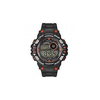 Sekonda Mens Digitaal Zwart/Rood/Zilver Rubber Band Horloge 1523