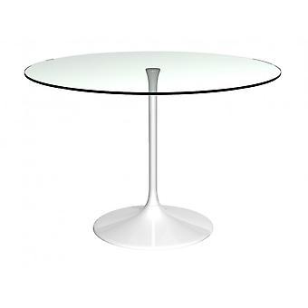Gillmore Pedestal gran mesa de comedor vidrio claro y blanco