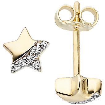 Child ear plug star 375 gold yellow gold 12 cubic zirconia star earrings
