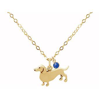 Collier GEMSHINE dachshund, saphir de chien 925 argent, or plaqué ou animal de compagnie rose