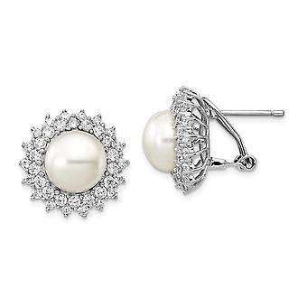 925 Sterling Sølv Rhodium belagt CZ Cubic Zirconia simuleret Diamond Ferskvand Kulturperler Pearl Omega Tilbage Øreringe Jøde