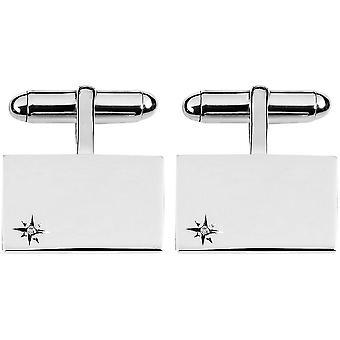Orton West Sterling Silver Diamond Detail Rectangular Cufflinks - Silver
