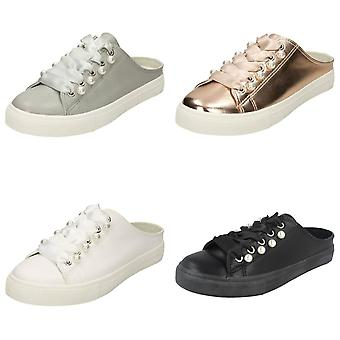 Spot On Womens/Ladies Backless Lace Up Pumps