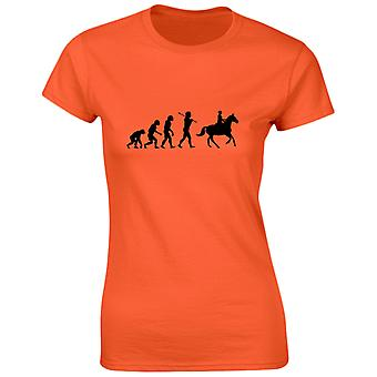 Horse Riding Evolution Evo Funny Riding Equestrian Womens T-Shirt 8 Colours by swagwear