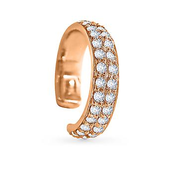 Earring Cuff Double Diamonds Lines and 18K Gold