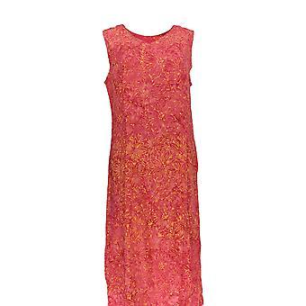 Batik Ball Dress Sleeveless Floral Motif Dark Pink
