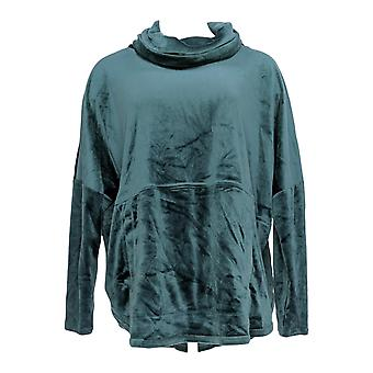 Anybody Women's Top Velour Oversized Cowl Pullover Green A345454