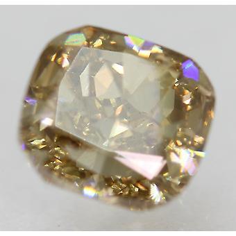 Cert 1.51 Carat Int Brown VVS2 Cushion Natural Loose Diamond 6.43x6.04mm 2VG