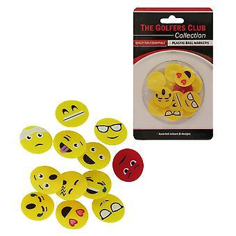 Golfers Club Emoji Face Plastic Ball Markers x 12