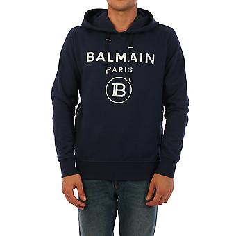 Balmain Uh13391i382saj Män's Blue Cotton Sweatshirt
