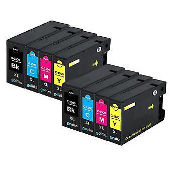 2 Set di 4 cartucce di inchiostro per sostituire Canon PGI-1500XL compatibile/non OEM da Go Inks (8 inchiostri)