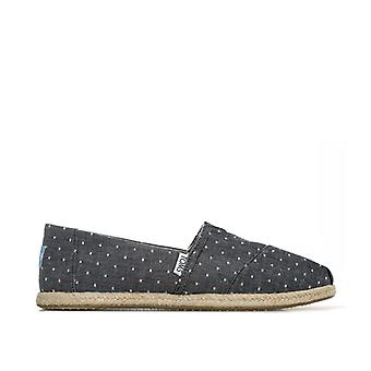 Women's Toms Classics Dot Chambray Espadrille Pumps in Black