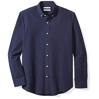 Essentials Men's Regular-Fit Long-Sleeve Solid Oxford Shirt, navy, X-L...