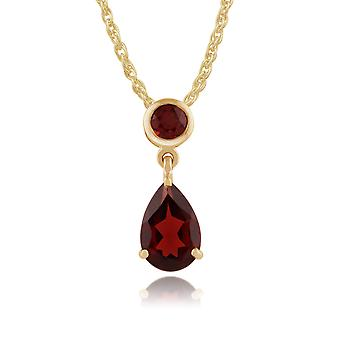 Classic Pear Garnet Pendant Necklace in 9ct Yellow Gold 186P0188019