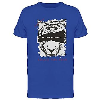 Cruzar el miedo con tiger Face Tee Men's -Imagen de Shutterstock