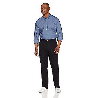 Essentials Men's Classic-Fit Wrinkle-Resistant Flat-Front Chino Pant, True Black, 35W x 28L