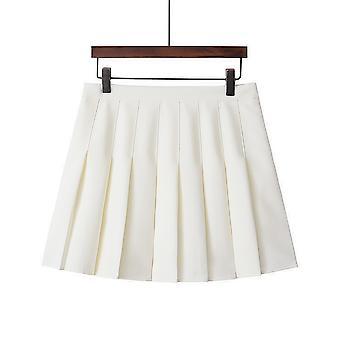Womens High Waisted Pleated Zip Tennis Style Skater Mini Skirt