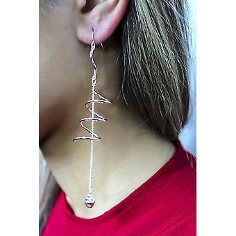Silver Spiral Drop Earrings - Long Chain Earrings