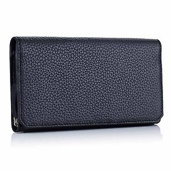 Midnight Richmond Leather Long Wallet with Zip Pocket