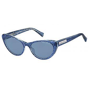 Sunglasses women's cat eye glittering blue