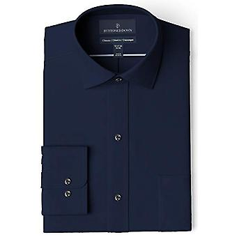 BUTTONED DOWN Men's Classic Fit Spread Collar Solid Pocket Options, Navy 16.5...
