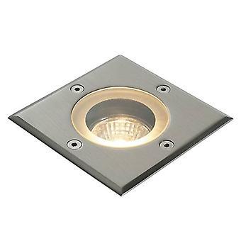 1 Light Outdoor Recessed Light Marine Grade Brushed Stainless Steel, Glass IP65, GU10