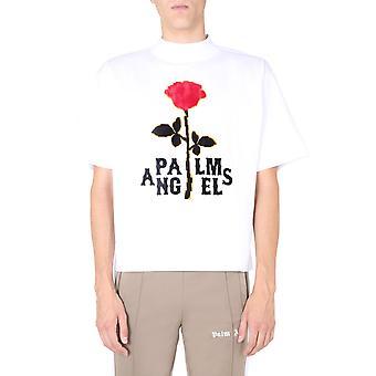 Palm Angels Pmaa054e20jer0030125 Men's White Cotton T-shirt