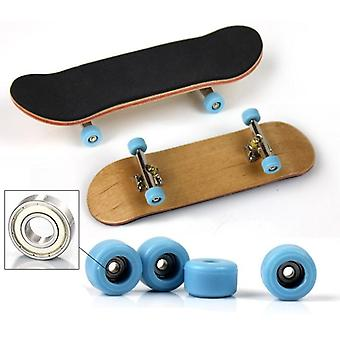 1 Set Wooden Fingerboard Skateboard Finger Finger Bearing Wheels Skid Pad Maple Finger Skateboard Novelty Toy For Adults Kid