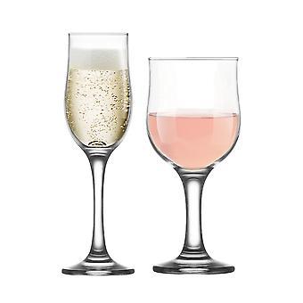 LAV Nevakar 355ml Copas de Vino Cáliz + Flautas de Champán - Set de 12 Stemware Goblets