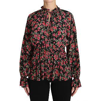 Dolce & Gabbana Siyah Gül Baskı çiçekli gömlek üst bluz TSH3131-36