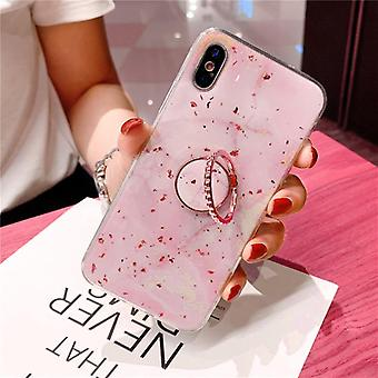 iPhone11 shell pink marble pattern gold flakes + ring