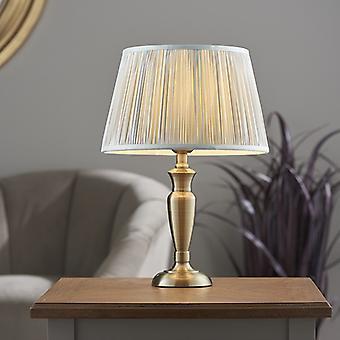 Endon Beleuchtung Oslo & Freya - Tischlampe Antik Messing Platte & Silber Seide 1 Licht IP20 - E27