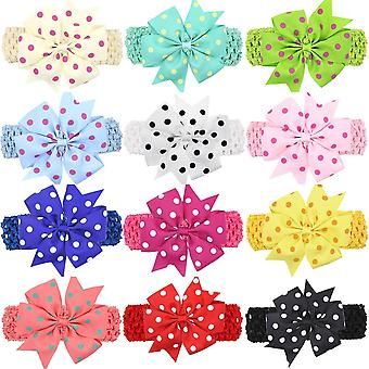 Children Dot Bow Wide Hair Head Band Accessories For Baby