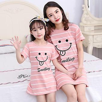 Girls Nightgown, Pajamas, Short Sleeved Nightdress Set-3