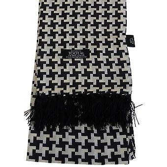 Black & White Houndstooth Rayon Aviator Scarf