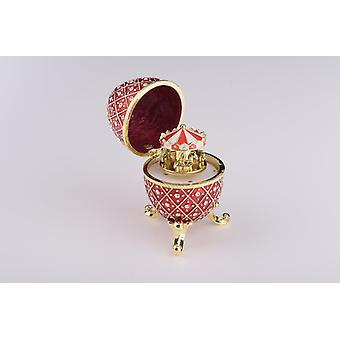 Red Faberge Egg With Horse Carousel Surprise Inside -  Trinket Box