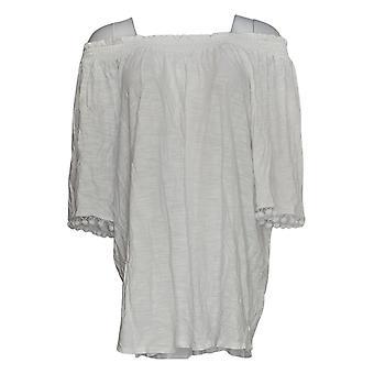 Belle by Kim Gravel Women's Plus Top Knit Pom Pom White A304406