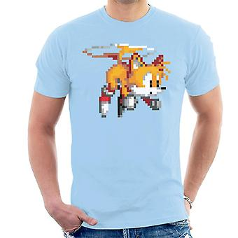 Sonic The Hedgehog Tails Pixelated Helicopter Men's T-Shirt