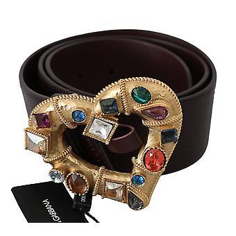 Dolce & Gabbana ruskea kulta sydän kristalli nastat solki vyö