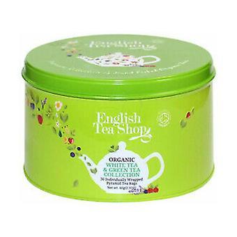 Kokoelma erilaisia valkoisia ja vihreitä teetä koristellussa astiassa 60 g