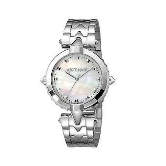 Roberto Cavalli Women's Silver Sunray Dial Stainless Steel Watch