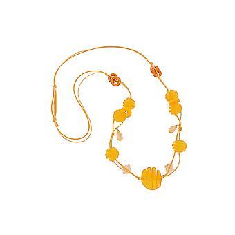 Collar Amarillo Espiral Abalorios Cord