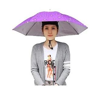 Paraguas portátil montado en la cabeza 77cm sombra de sol ligera camping pesca