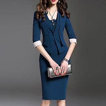 女性&アポススーツセット、秋のオフィスウェアジャケットスカートとジャケット、プラスサイズ