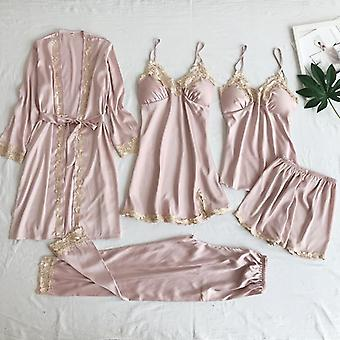 Sexy Kvinder Lace Home Wear Sleep Set Casual Satin Home Tøj Silky Solid