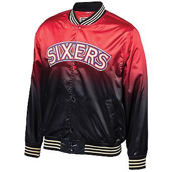 Mitchell & Ness Philadelphia Sixers 76ers Satin Bomber Jacket P76BLCK1