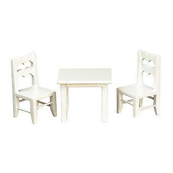 Dolls House Child & s White Table & Chaises Miniature School Nursery Furniture 01:12
