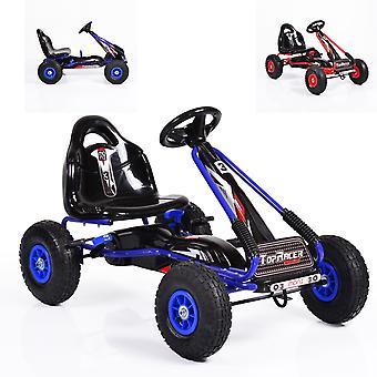 Os miúdos vão kart, piloto superior do carro do pedal, pneumático, assento ajustável, travão de mão