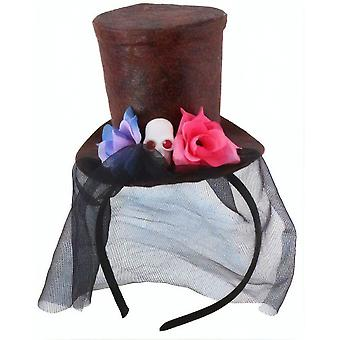 Hairband Skulls Hat With Veil 22 Cm Black